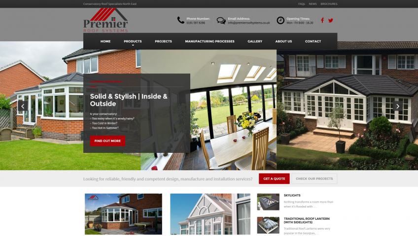 Premier Roof Systems - Website Screenshot