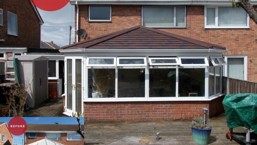 Conservatory Roof Replacement by Premier Roof Systems - Before and After Image
