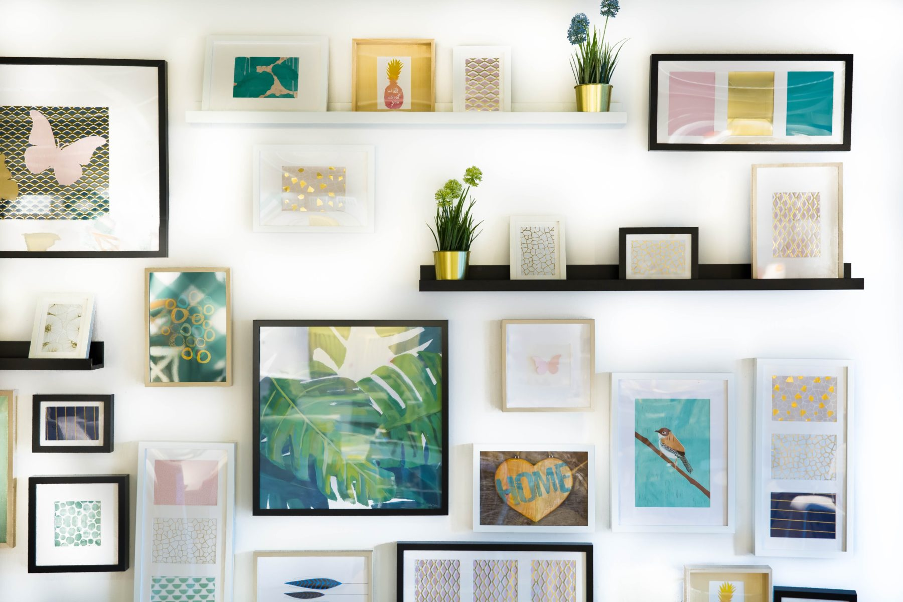photo frames and shelves, white wall