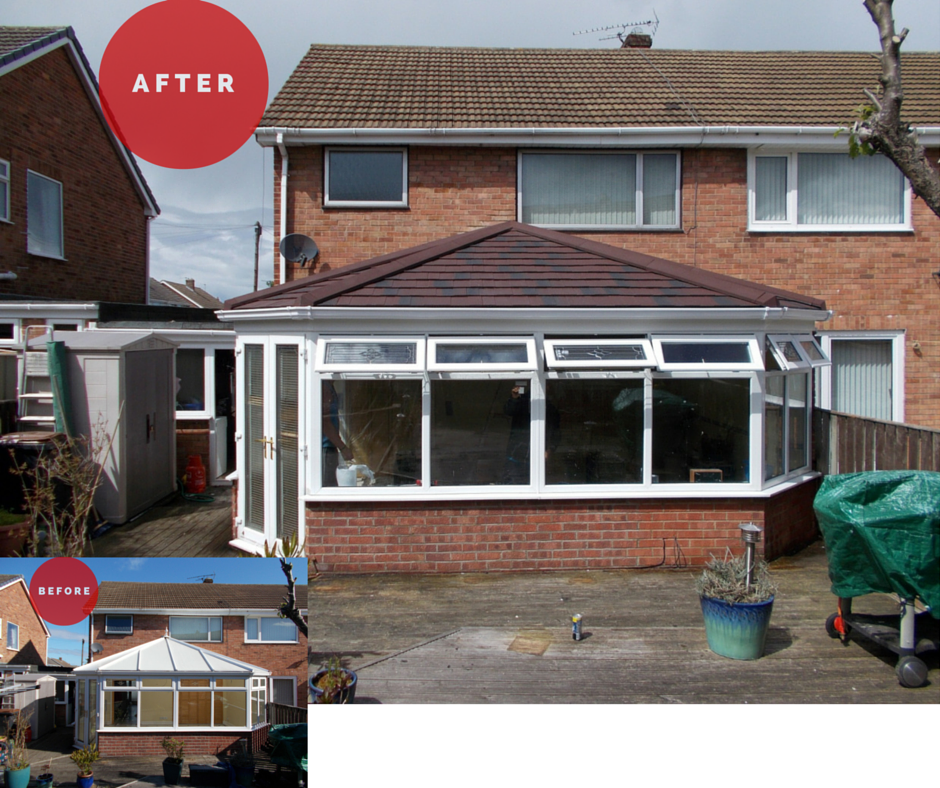 new conservatory roof installation before and after